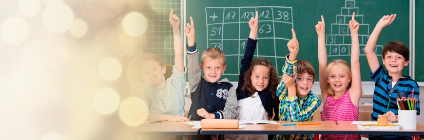 Children raise their hands